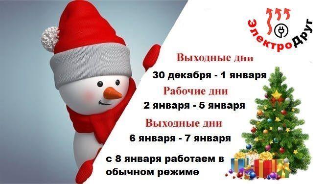 график работы магазина ЭлектроДруг на новогодние праздники 2020