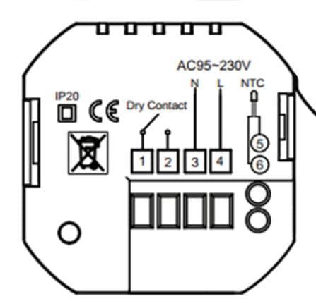 схема подключения терморегулятора BHT-002W-GCLW